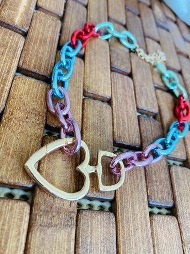 Colar Heart Clasp Multicolors - Bijuh Moderna