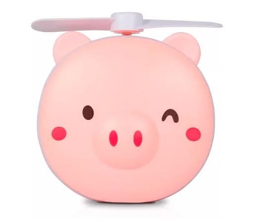 Mini Ventilador Porquinho com Espelho, Luz Led, USB, para Secar Maquiagem